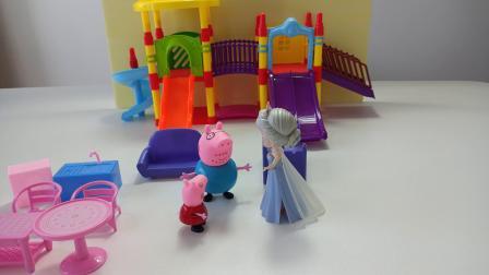 粉红佩奇吃糖记:猪爸爸请粉红佩奇和白雪吃五颜六色的彩虹糖!