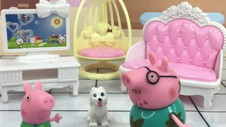 小狗不吃糖果,乔治把糖送给了猪爸爸