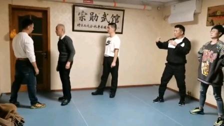 意拳姚承光老师教授单推手肩发力练习(邯郸意拳赵志勇)