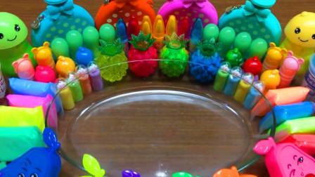 彩虹黏土+起泡胶+炫彩果冻泥+亮片饰品,自制史莱姆,猜猜效果怎样