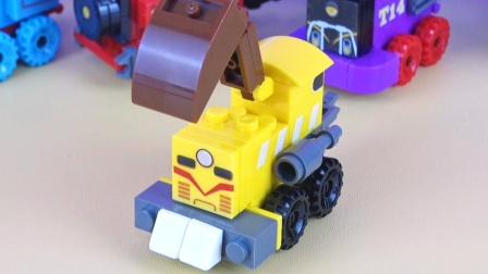 神秘好玩的黄色挖掘机火车头奇趣蛋