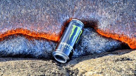 熔岩温度到底有多高?水瞬间沸腾,可乐罐被热爆