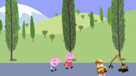 佩奇生活小日记:小力用工程车安慰失落的佩奇和乔治