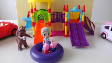 怪兽又来找粉红佩奇和小乔治的麻烦,还好它们有保护圈和奥特曼!