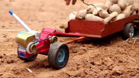自制手扶拖拉机玩具,儿童农机玩具
