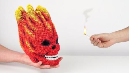 """20万根火柴打造一个""""骷髅头""""模型,点火瞬间,场面太壮观了!"""
