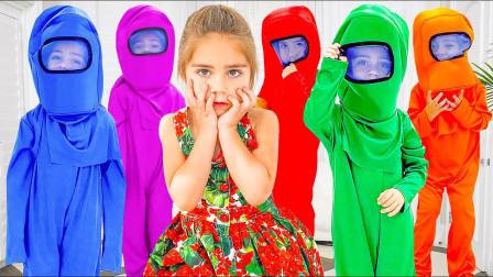 萌娃益智亲子游戏:萌宝小萝莉怎么看到5个游戏小怪兽?他们怎么把小正太的东西拿走了?
