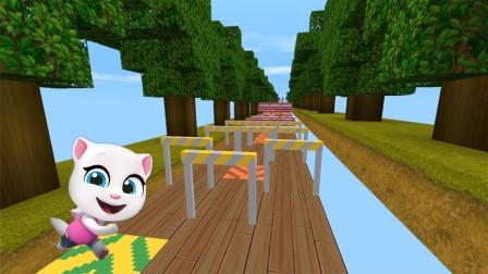 迷你世界《新汤姆猫跑酷》躲过路上的障碍,看谁先到终点