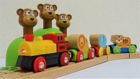 拼搭木质小动物铁路玩具