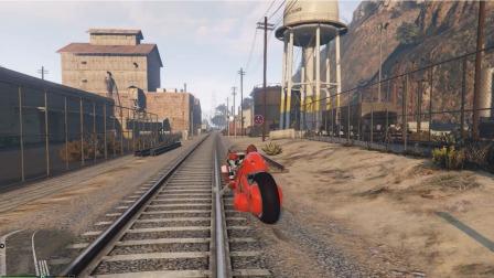 小游戏:奥特曼骑摩托车在火车轨道里面行驶