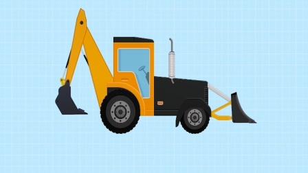 工程车积木游戏,模拟组装挖掘装载机