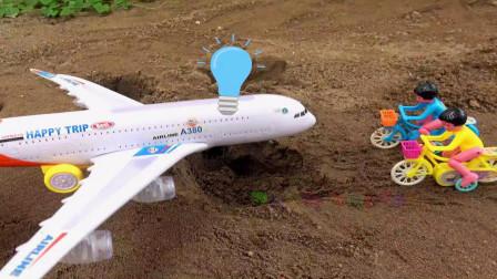 飞机帮助自行车运木桥,宝宝早教游戏视频