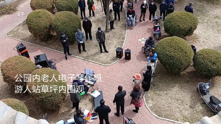 公园内多位游人站草坪内欣赏老人电子琴伴唱《黄河大合唱》