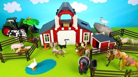 搭建农场放置农场动物玩具