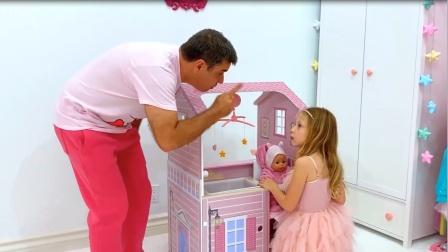 玩具拼图,小可爱偷懒玩拼图被爸爸发现