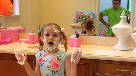 太有趣了,小可爱学爸爸刮胡子,剃须膏抹的满脸都是
