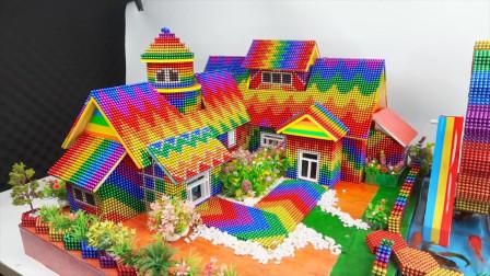 DIY巴克球教程,用巴克球为小仓鼠建造彩虹宠物庄园,成品超赞呢
