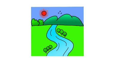 河流简笔画 - 一步一步教你画