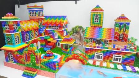 DIY巴克球教程,如何用彩色巴克球建造彩虹钟楼别墅,成品超赞呢
