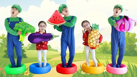 超级马里奥趣味儿歌!超可爱的水果抱枕和蔬菜抱枕!
