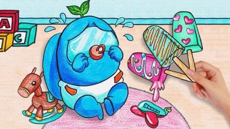 趣味定格动画:制作3个草莓巧克力冰淇淋,哄船员小宝宝