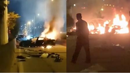 突发!东莞一特斯拉被指发生严重车祸,碰撞后起火并伴有爆炸