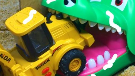 工程车故事:坏蛋鳄鱼建墙挡路,还把小挖掘机抓走