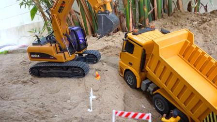 儿童玩具动画:挖掘机、吊车救援翻斗车,铲车挖沙子铺建道路!