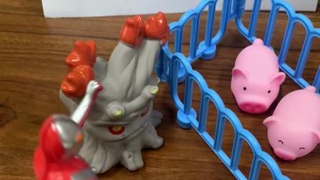 怪兽把小猪们抓起来了,超人快来呀!