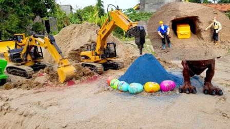 儿童玩具车表演:翻斗车寻找宝藏,挖掘机挖奇趣蛋,推土机铺平道路!