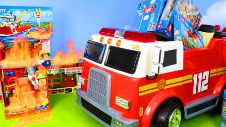 儿童玩具车表演:起重机起吊集装箱,直升机、消防车灭火救援!