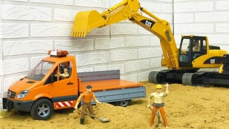 玩具卡车拖拉机运输货物