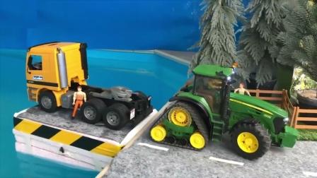 汽车小镇的拖拉机拖着卡车行驶