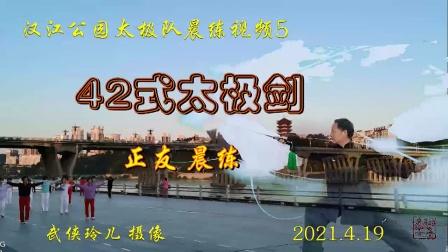 《42式太极剑》汉江公园太极队系列视频(5)--65岁秦正友晨练