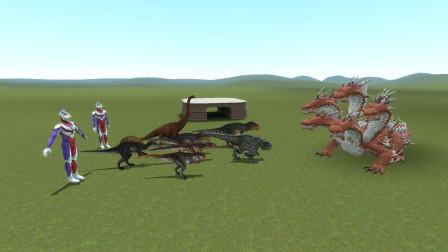 GMOD游戏迪迦奥特曼养的恐龙能打赢怪兽吗?