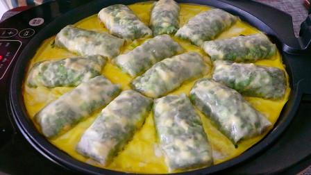 早餐懒人新吃法,1把韭菜5个鸡蛋,不用和面,比韭菜盒子简单好吃
