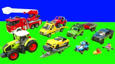 儿童早教玩具认知:消防车、挖掘机、铲车、翻斗车、救护车、警车、拖拉机!