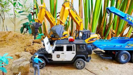 儿童玩具车表演:吊车、大拖车救援事故警车,挖掘机清理道路石头!