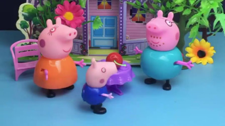 乔治给猪妈妈洗了樱桃,猪爸爸也想让乔治洗,不料被乔治唠叨