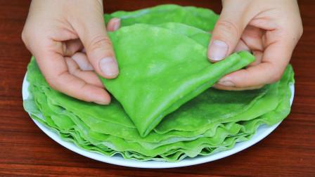 开水烙菠菜饼,快要失传的面食做法,一次烙15张,又薄又软不用油