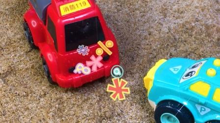 工程车故事:警车冒烟求助消防车,它最后能成功脱险吗?
