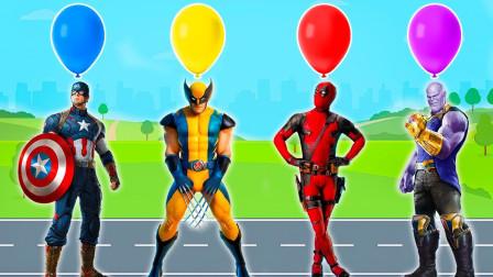 超级英雄的面具被气球遮住了,快快帮助超级英雄去掉气球,学颜色