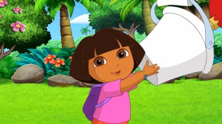 爱探险的朵拉:大红公鸡想画画,脚却卡在颜料桶里,脚怎么画画呢