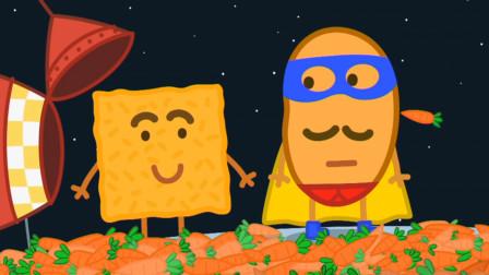 小猪佩奇 土豆先生正在拍太空大战电影 简笔画