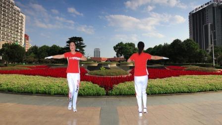 河口轻舞飞扬健身操第22套第六节水兵舞正背面演示