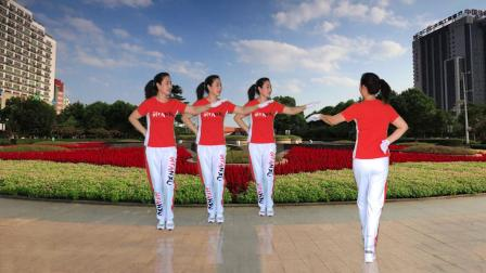 河口轻舞飞扬健身操第二十二套第三节腰腹运动运动正背面演示