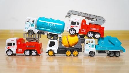 工程车玩具:油罐车,消防车,升降维修车,垃圾车,儿童益智汽车