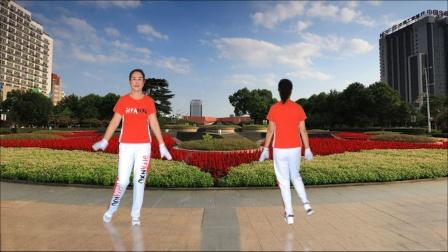 河口轻舞飞扬健身操第22套第八节自由舞步正背面演示