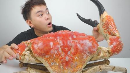 终极试吃记录,挑战全网最大的皇帝蟹,整整18斤一个钳子就吃饱