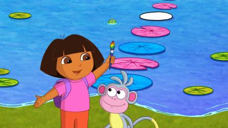 爱探险的朵拉:小青蛙给朵拉探路,哪知道一不注意,就掉进河里